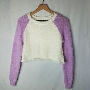 NWT Planet Gold Fuzzy Crop Sweater Size XS